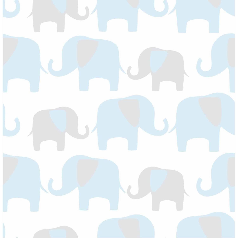 NuWallpaper Blue Elephant Parade Peel and Stick Wallpaper by NuWallpaper