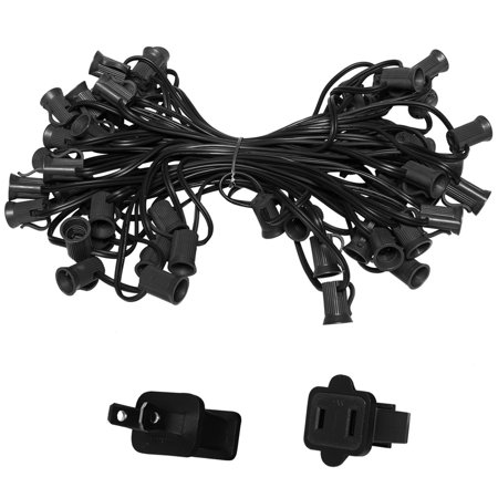 Holiday Lighting Outlet C7 Christmas Light String, Patio Event Lighting, 50', Black Cord, 12