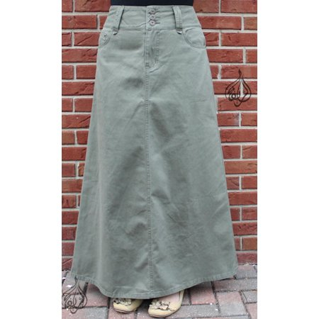 "40"" LONG DENIM A-LINE SKIRT - WOMENS ALINE MODEST SKIRTS (HM-OLIVE)WAIST= 30"""