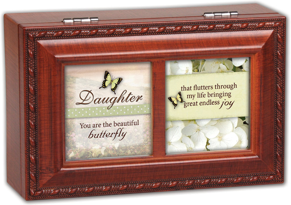 Cottage Garden Daughter Woodgrain Petite Music Box   Jewelry Box Plays Wonder... by