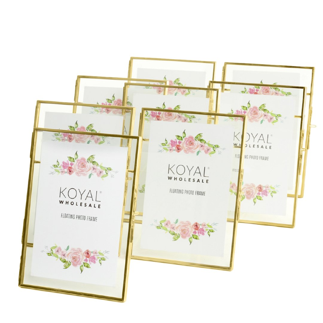Koyal Wholesale Rose Gold Pressed Glass Floating Photo Frames 6 Quot X 8 Quot 8ct Walmart Com
