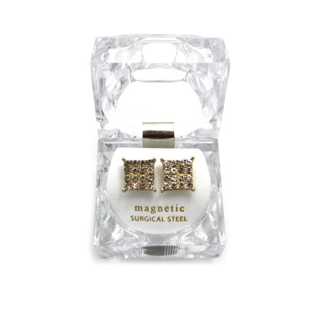 4 Stone Row Square Shape Magnetic Stud Earrings w/ Lucite Box Display, Gold-Tone