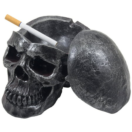 Scary Human Skull Covered Ashtray in Metallic Look for Spooky Halloween Decorations or Gothic Decor for Bar or Smoking Room by Home 'n Gifts
