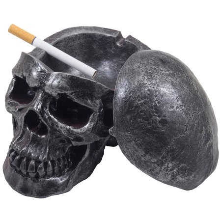 Scary Human Skull Covered Ashtray in Metallic Look for Spooky Halloween Decorations or Gothic Decor for Bar or Smoking Room by Home 'n Gifts - Halloween Decorations Too Scary