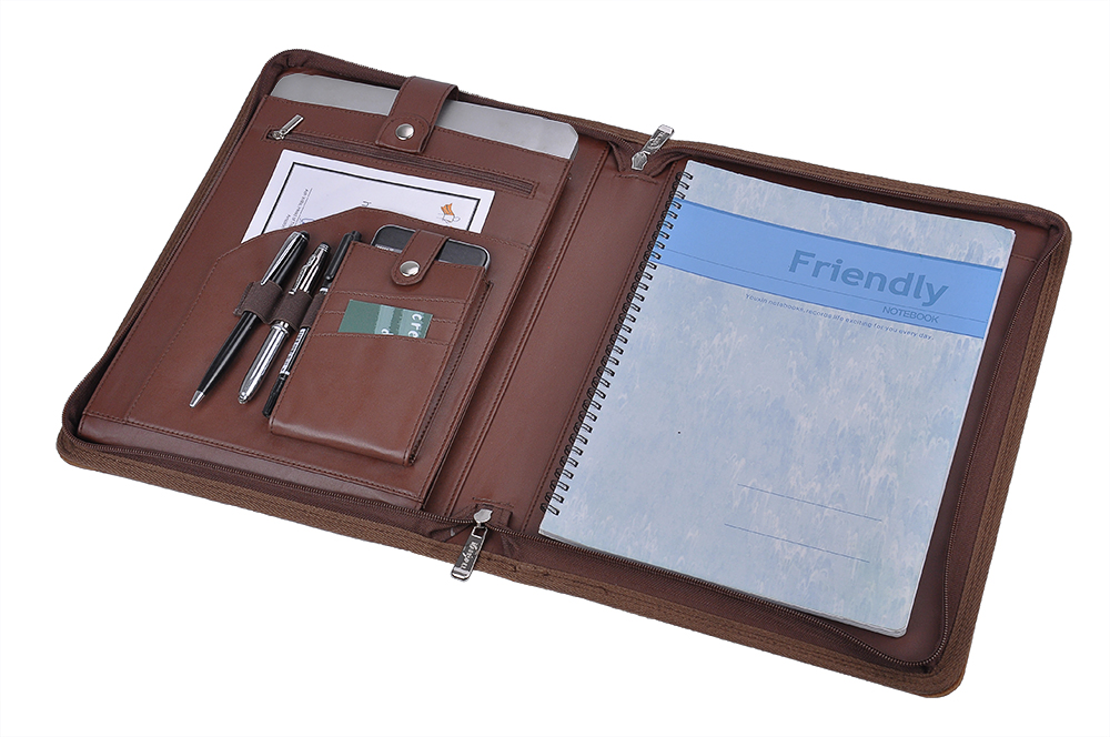 Leather Organizer Laptop Folio Case with Notepad Holder for 12.9 inch iPad Pro by iCarryAlls