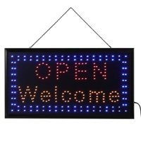Mgaxyff LED Sign Board, Outdoor LED Sign,1pc Large Bright LED Shop Sign Board Neon Light Window Door Hang Sign OPEN WELCOME