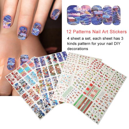 Halloween Toothpick Nail Art (FAGINEY 4 Sheets 12 Patterns Halloween Christmas Nail Art Transfer Stickers Manicure Decorations  ,Nail Art Stickers, Nail Art)