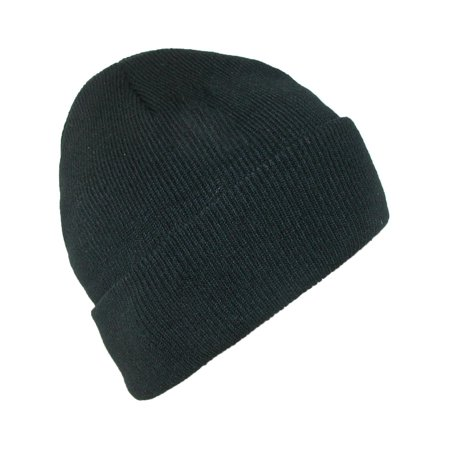 Size one size Men's Black Winter Stocking Knit Cuff Cap Fleece Cuff Cap