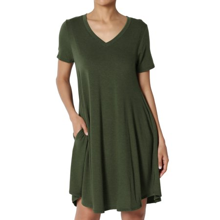 V-neck Vintage Tunic - TheMogan Women's S~3X Short Sleeve V-Neck Draped Trapeze Pocket Short Tunic Dress