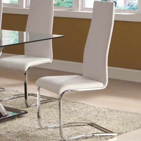 Miraculous White Faux Leather Dining Chairs With Chrome Legs Set Of 4 Ibusinesslaw Wood Chair Design Ideas Ibusinesslaworg