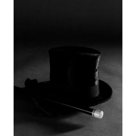 Top hat and magic wand Poster Print (Magic Hat And Wand)