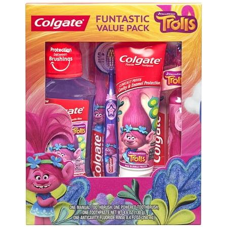 Colgate Kids Toothbrush, Toothpaste, Mouthwash Gift Set - Trolls
