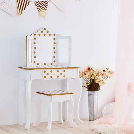 Teamson Kids - Fashion Polka Dot Prints Gisele Kids Vanity Set - White / Gold
