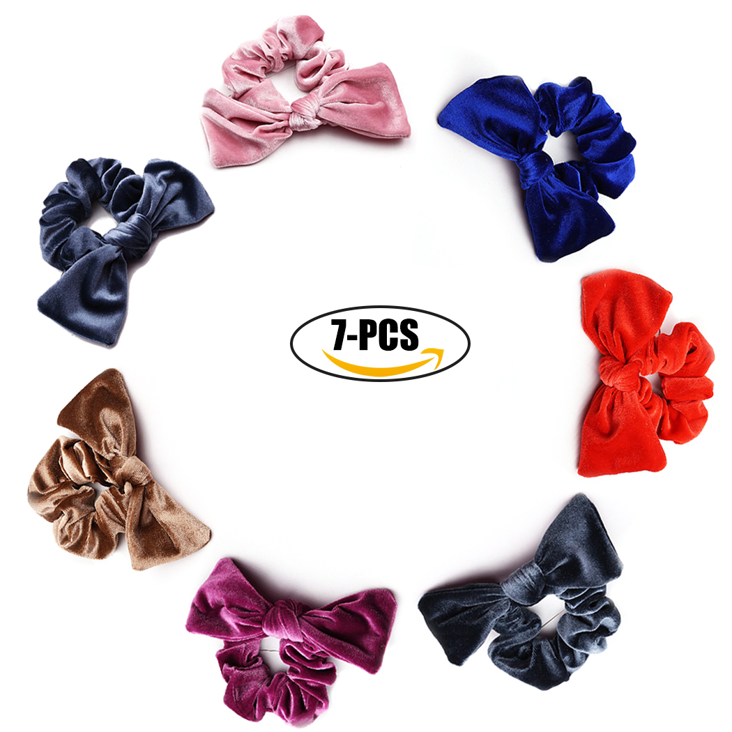 Coxeer 7PCS Hair Scrunchies Traceless Elastic Bowknot Velvet Hair Bands Hair Ties Hair Accessories for Women Ladies Girls