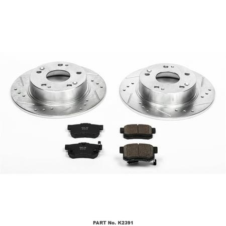 Power Stop K2391 Brake Kit 1-Click Brake Kit Carbon Fiber Ceramic Brake Pads; 10.23 Inch Silver Zinc Plated Cross-Drilled And Slotted Rotor; With Rotor/ Brake Pad/ Hardware - image 1 de 1