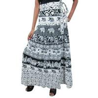 Mogul Womens Cotton Wrap Skirt Animals Print Beach Bikini Cover Up Resort Wear Sarong Summer Fashion Ethnic Wrap Around Skirts