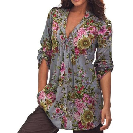 V-neck Vintage Tunic - DZT1968Women Vintage Floral Print V-neck Tunic Tops Women's Fashion Plus Size Tops