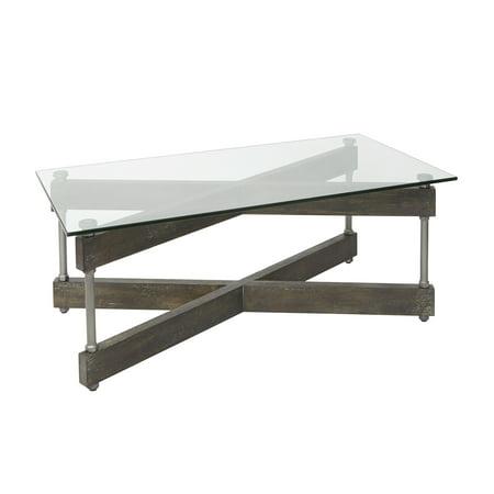 Garth Glass and Wood X-Frame Coffee Table