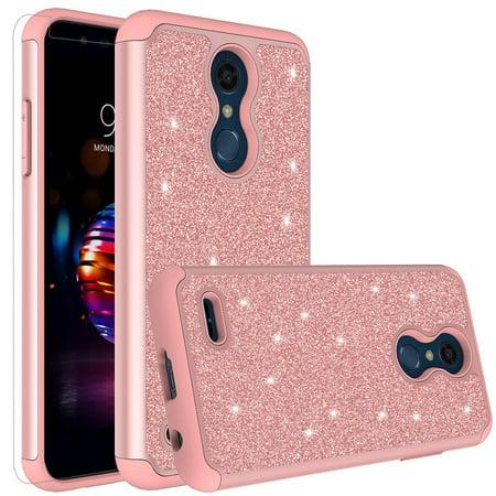 new arrival 60968 d9bdc LG K30 Case (X410), LG Premier Pro LTE Case, LG K10 2018 Case (MS425)  Glitter Bling Hybrid Women Girls Case Cover with [HD Screen Protector]  Phone ...