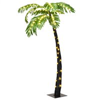 Costway 5 Ft Pre-lit Artificial Palm Tree Curve Trunk Lights Home Pool