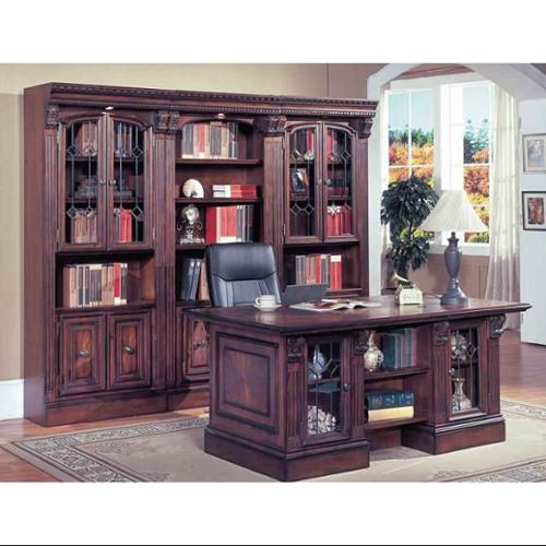 4 Pc Double Pedestal Executive Desk Set - Huntington