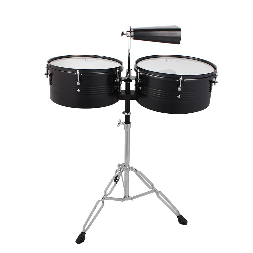 """Latin Percussion 13"""" & 14"""" Timbales Drum Set with Stand and Cowbell by"""