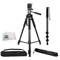 "Professional PRO 72"" Tripod 3-way Panhead Tilt Motion with Built In Bubble Leveling Indicator with Deluxe Carrying Case + 72 Inch Heavy Duty Monopod for Fujifilm FinePix XF1, X-E1, X-E2, X-E2S, X"