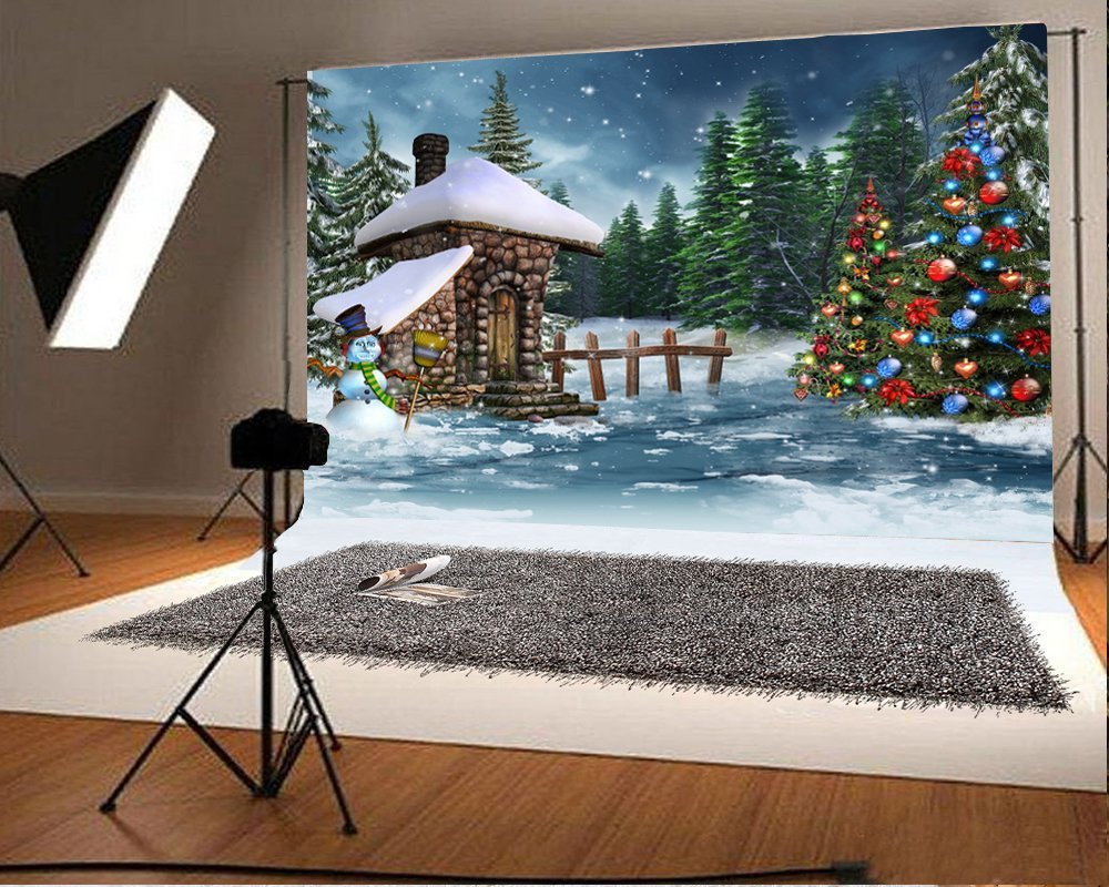 Mohome Polyster 7x5ft Backdrop Christmas Cottage Photography Background Fary House Snowman With Glitering Christmas Tree Wood Fence Pine Trees Evening View Snowing Day Backdrop Camera Shooting Walmart Com Walmart Com