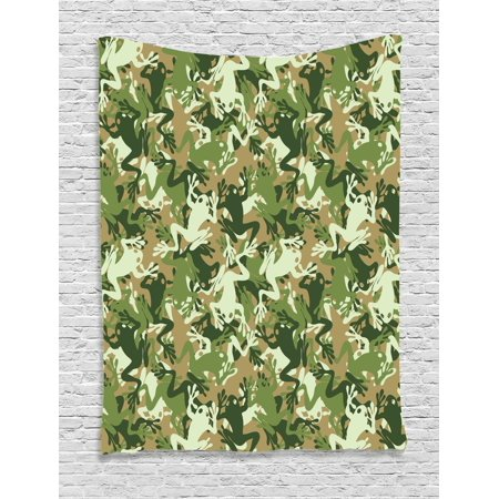 Animal Tapestry, Skull Camouflage Design with Various Frog Pattern Different Tones Art Print, Wall Hanging for Bedroom Living Room Dorm Decor, Sage Pine Green, by Ambesonne