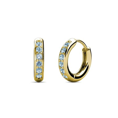 Aquamarine Hoop Earring - Petite Aquamarine Huggies Hoop Earrings 0.19 Carat tw in 14K Yellow Gold