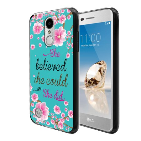 FINCIBO Soft TPU Black Case Slim Protective Cover for LG Aristo MS210, She Believed She Could So She Did Falling Pink Flower Vintage Flower Frog