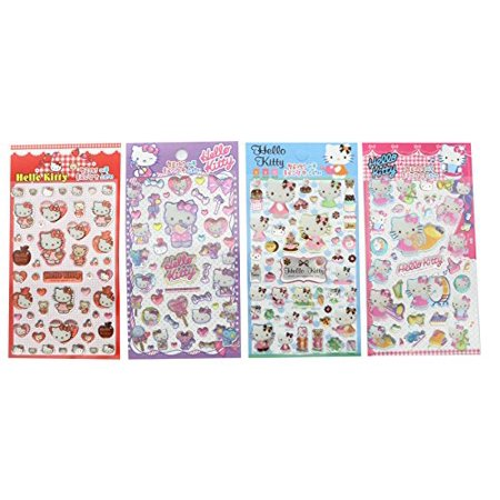 Iridescent Set - Hello Kitty Cute Glitter Shinny Iridescent Sticker set of 4