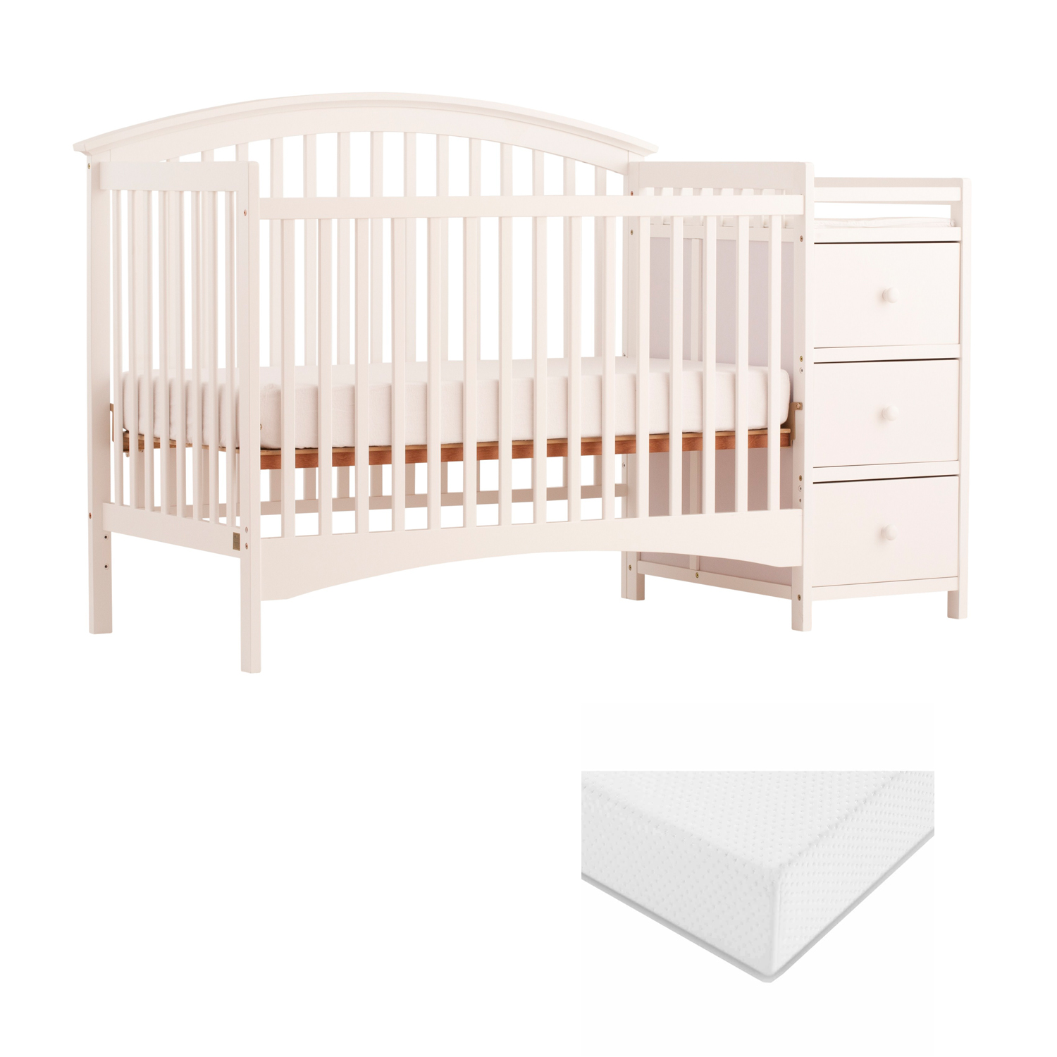 Storkcraft Bradford 4 in 1 Convertible Crib and Changer with BONUS Graco Premium Foam Mattress