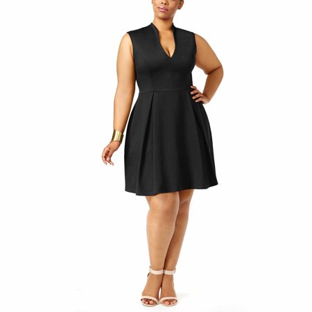 Soprano Womens Trendy Plus Size Pleated Fit & Flare Dress (Black, 2X) (Plus Size Club Dresses 2x)
