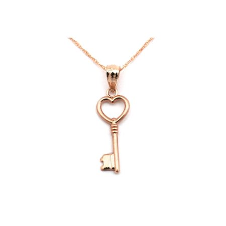 14k Yellow or Rose Gold Heart Vintage Key Pendant Necklace