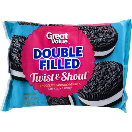 Great Value Twist & Shout Cookies, Double Filled, 15.35 Oz