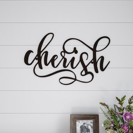 Metal Cutout- Cherish Decorative Wall Sign-3D Word Art Home Accent Decor-Perfect for Modern Rustic or Vintage Farmhouse Style by Lavish Home