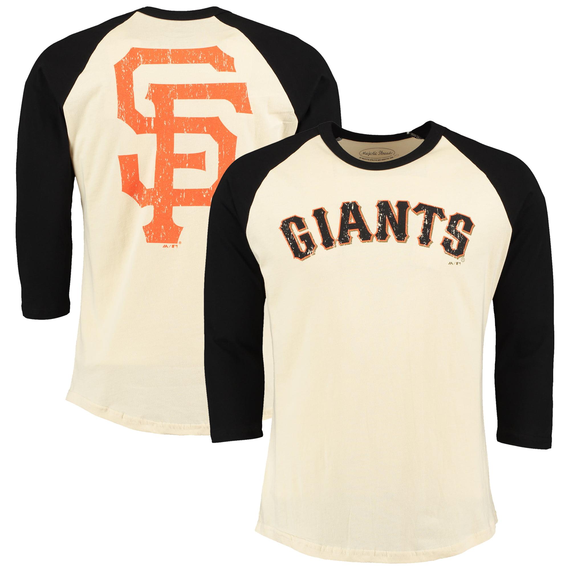 San Francisco Giants Majestic Threads Softhand Vintage Cooperstown Three-Quarter Raglan Sleeve T-Shirt - Cream/Black