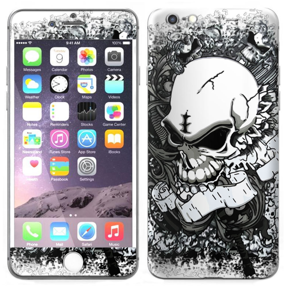 SKIN DECAL FOR Apple iPhone 6 Plus - Silver Skull on White DECAL, NOT A CASE