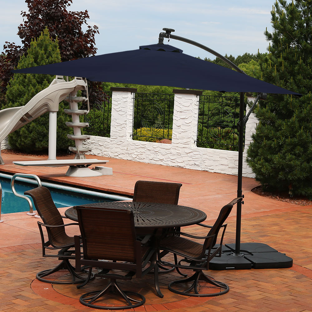 Sunnydaze Steel 10 Foot Offset Solar LED Patio Umbrella With Cantilever,  Crank, And