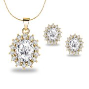 18K Yellow Gold Created Diamond Round 3 Carat Oval Necklace Plated 18 inch