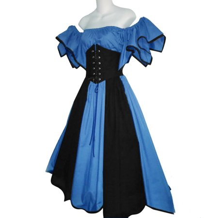 Medival Dresses (Female's High-Quality Short Petal Sleeve Slash-Neck Medieval Dress Cosplay)