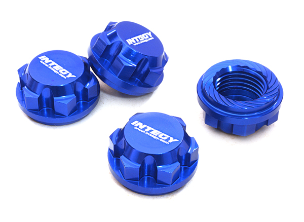 Integy RC Toy Model Hop-ups C27073BLUE Billet Machined 17mm Hex Wheel Nuts (4) for Traxxas... by Integy