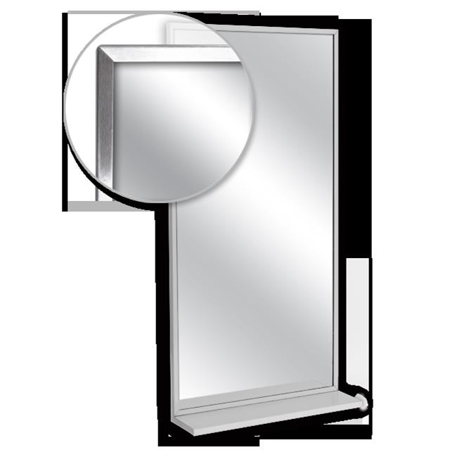 AJW U716T-1836 Channel Frame Mirror & Mounted Shelf, Tempered Glass Surface - 18 W X 36 H In.