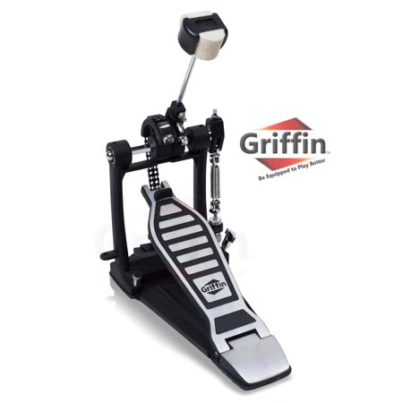 Single Kick Bass Drum Pedal by Griffin Double Chain Foot Percussion Hardware for Intense Play 4 Sided Beater and Fully Adjustable Power Cam System Perfect for Beginner and Experienced