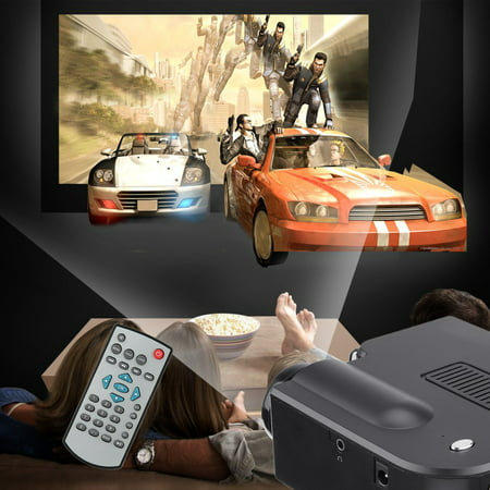 Multimedia Home Theater Mini Projector for Movies on Sale Projector with HDMI, AV, VGA Inputs Home 1080p Projector White