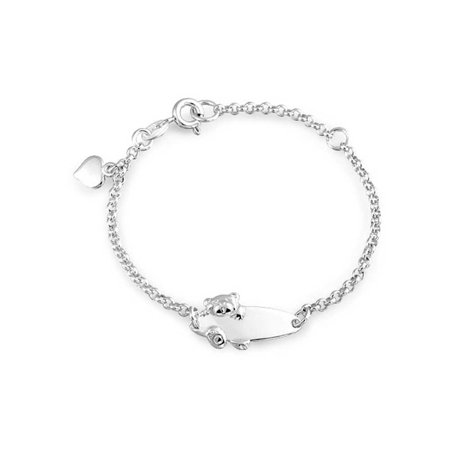 Engravable Name Plate Teddy Bear ID Identification Bracelet For Teen 925 Silver Sterling Small Wrists 5-6 Inch
