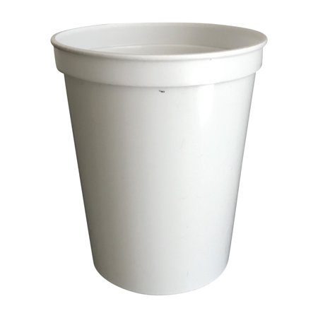 16fa8f3985b CSBD 10 Pack White Blank 16 oz Plastic Stadium Cups Bulk - Reusable or  Disposable - Walmart.com