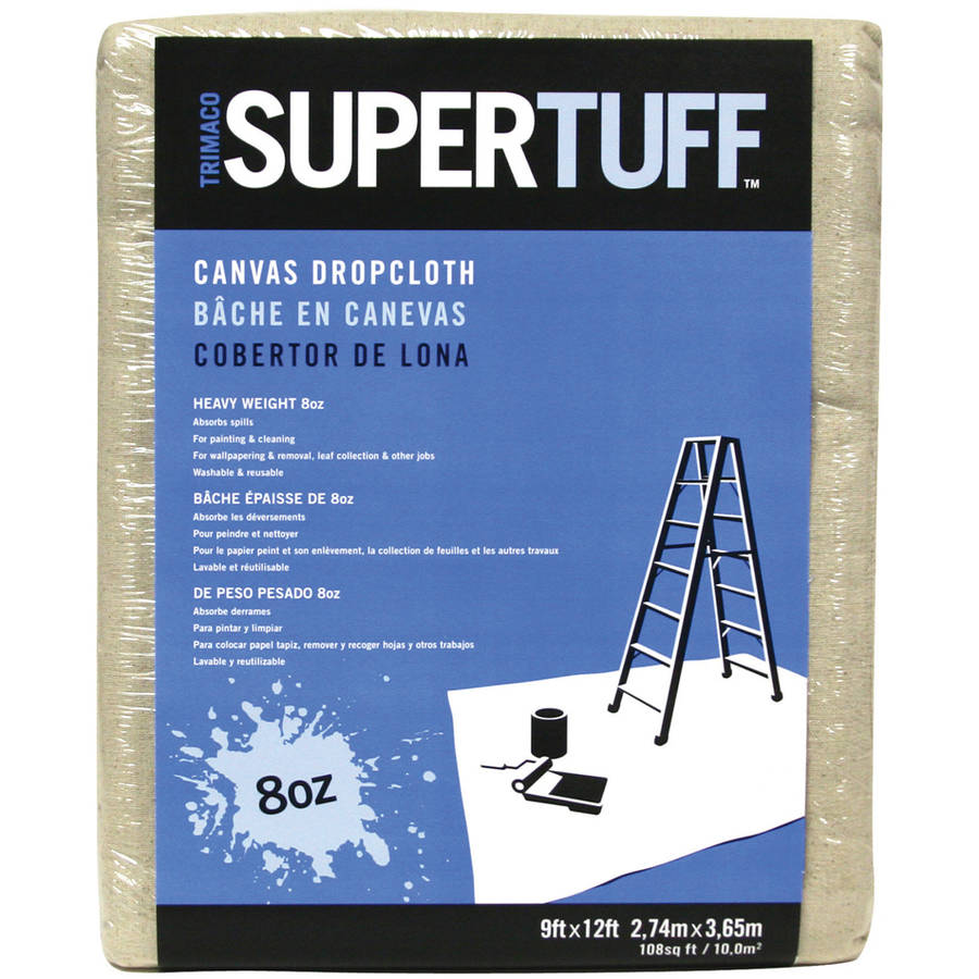 Trimaco 58901 9' x 12' 8Oz SuperTuff Heavyweight Canvas Drop Cloth