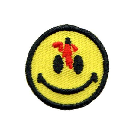 Small Bloody Bullet Smiley Face Patch Happy Smile Embroidered Iron On Applique - Bloody Bullet Hole